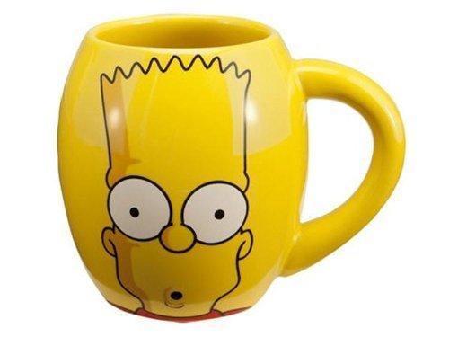 Vandor 67064 The Simpsons 18 oz Oval Ceramic Mug, Yellow and Blue