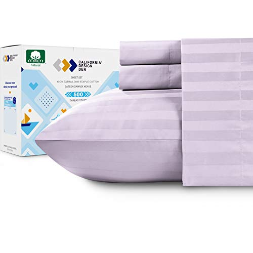 Pure Cotton Queen Sheet Set - Lavender 500 Thread Count 4 Piece Set, Elegant Damask Striped Sateen Sheets, Elasticized Deep Pocket Fits Low Profile Foam and Tall Mattresses