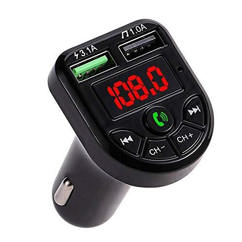Ghopy - Transmisor FM Bluetooth para coche, cargador de mechero de coche, manos libres, reproductor de MP3, adaptador de radio inalámbrico, kit FM, doble soporte para tarjeta SD, memoria USB (