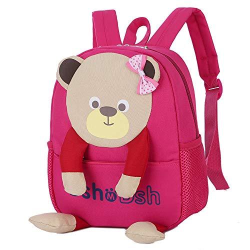 YWLINK Kinderrucksack Kinder Rucksack Baby Tasche SüßEs Tier 3D BäR KinderrucksäCke Schulrucksack Junge Mädchen Campus Daypacks(Pink,23cm(L) X26cm(H) X9cm)