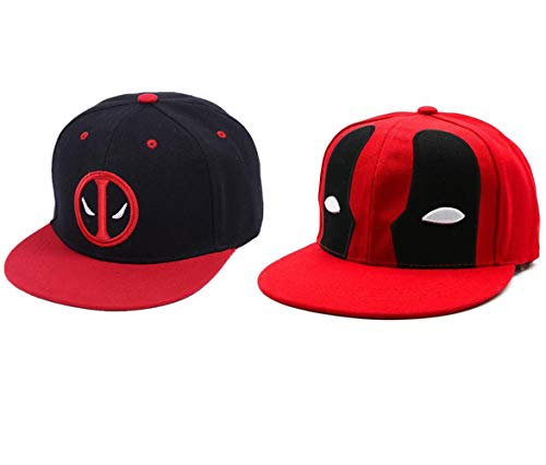 2 Pcs Anime Deadpool bordado Hip Hop Snapback sombrero algodón casual gorra...