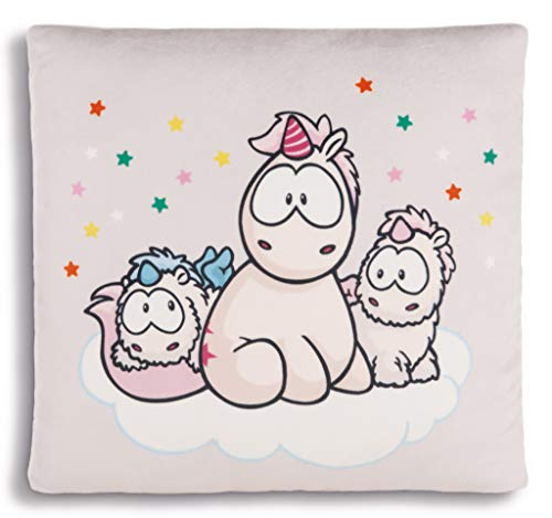 NICI 43260 vierkant kussen eenhoorn-Babys en theodor, kleurrijk, 30 x 30 cm