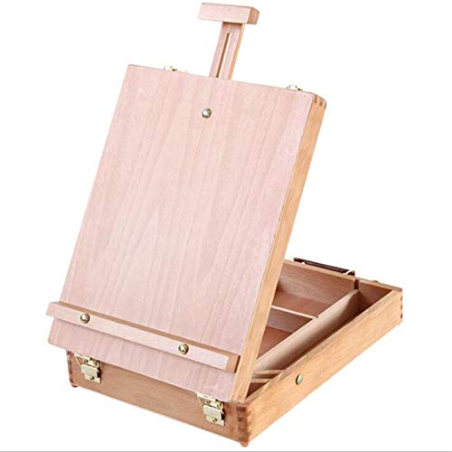 Caballete Caja Mesa Madera 36X27X10cm, Caballete de la Caja del Ordenador Portátil de Escritorio del Filete, Accesorios de Hardware de Pintura Maleta de Pintura Multifuncional