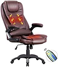 Advwin 8 Point Massage Office Chair, Ergonomic Adjustable Executive Home Computer PU Chair, with Headrest, Brown