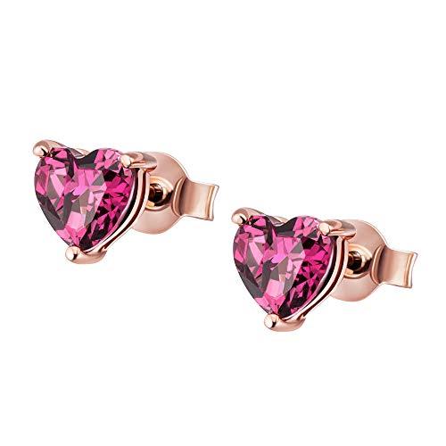 Goldmaid 375 - Pendientes para mujer, oro rojo granate, talla en forma de corazón