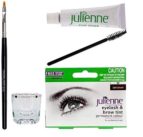 New Julienne Eyelash Eyebrow Tinting Kit Dye Dark Brown 03 Brush Tint Dish