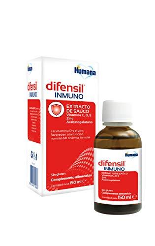 Humana DIFENSIL® INMUNO, vitaminas C, D, Zinc, probióticos, favorece las defensas del sistema inmunitario, para niños y adultos. Complemento Alimenticio con ingredientes naturales -150 ml