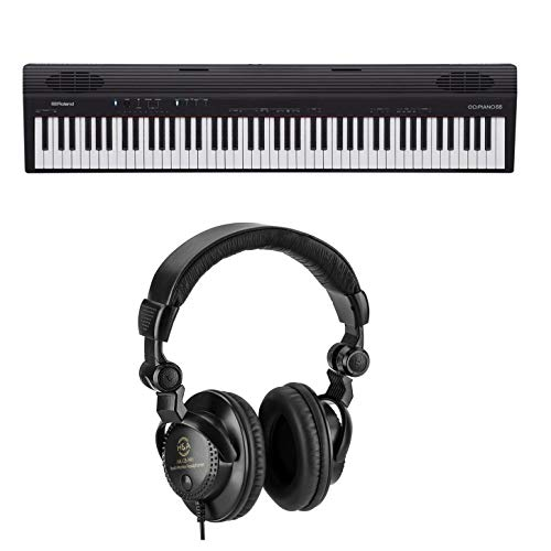 Roland GO:PIANO88 88-Note Digital Piano with Onboard Bluetooth Speakers - with H&A Closed-Back Studio Monitor Headphones