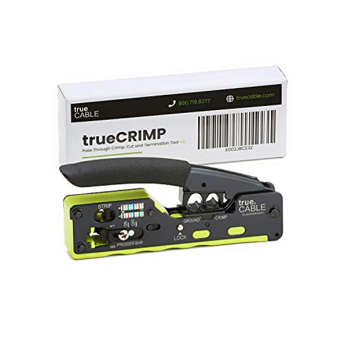 trueCABLE All-In-One Crimp and Termination Tool, Compatible with Cat5e, Cat6, Cat6A Ethernet RJ45 Connectors, Shielded & Unshielded, Pass Through, and Standard Modular Plugs