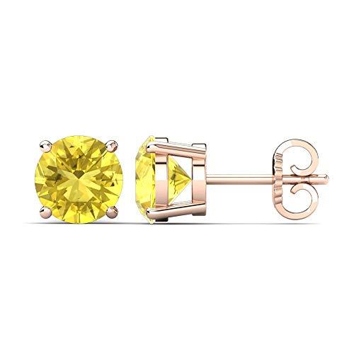 SLV Pendientes solitarios de diamante de zafiro amarillo de 3 mm-9 mm, de corte redondo D/VVS1 en plata de ley 925 chapada en oro rosa de 14 quilates