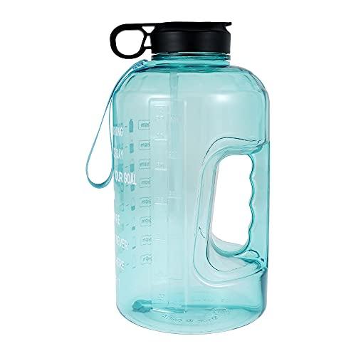 Wasserflasche, 1 Gallon Trinkflasche Sport Gym Bottle mit Zeitmarkierungs BPA , Sportflasche mit Griff ,Auslaufsicher ,für Sport Fahrrad, Yoga, Wandern und Camping(3.78L) (Grün)