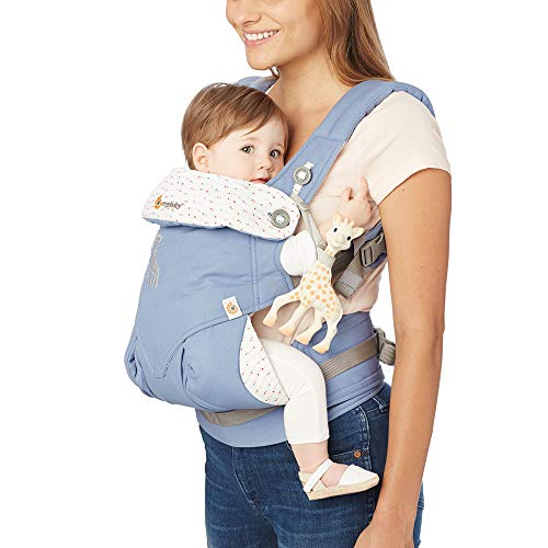Ergobaby 360 All Carry Positions Ergonomic Baby Carrier - Sophie La Girafe Collaboration, Blue