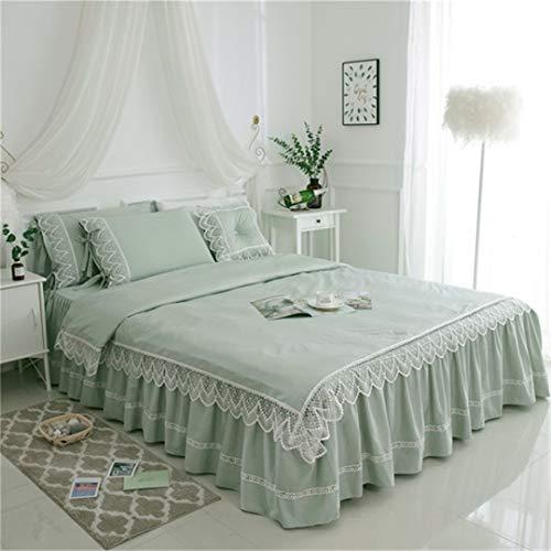 Juego de Cama de Boda de Princesa de Encaje Juego de Funda nórdica con Falda de Cama de algodón Doble King Queen Style2 Bed Skirt 150x200cm Bed 4pcs