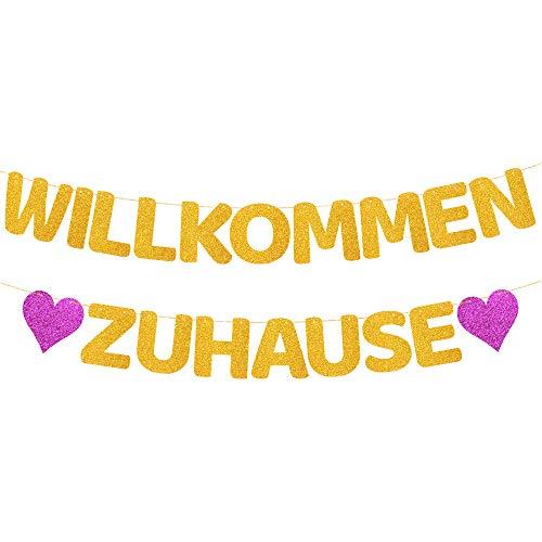 ecooe Willkommen Zuhause Glitter Banner für Familie Partei Dekoration Welcome Home Banner mit 12Stk Wimpeln und 3M Jute Seil*2