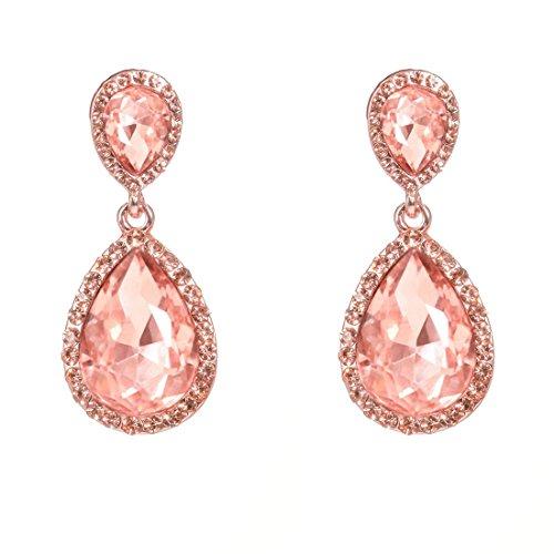 NLCAC Women's Crystal Rose Gold Wedding Earrings Dangle Teardrop Pear Shape Long Chandelier Earring Bridal
