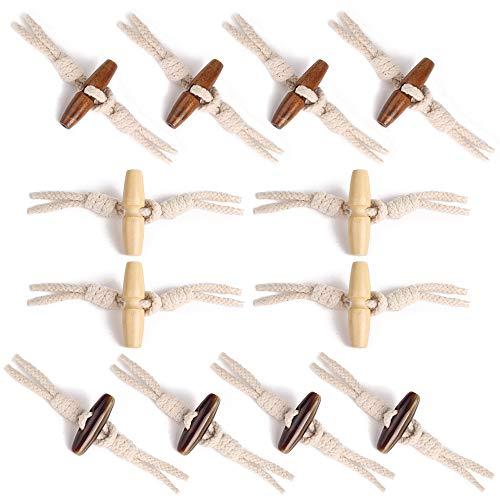 Nsiwem 12 Paia Bottoni a Levetta in Legno di Oliva Tessuti Bottoni Alamari Bottoni di Cucito di Corno Fibbia in Legno Bottone a Corno in Resina per Cappotti Giacche DIY Decorazione
