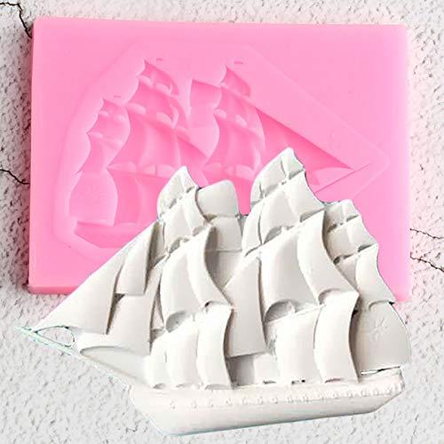 YNNN Velero 3D Molde de Silicona Bebé Cumpleaños Pastel Decoración Herramientas Magdalena Galleta Moldes para Hornear Candy Clay Chocolate Gumpaste Moldes