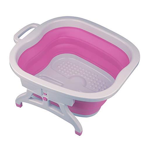 Sinbide Platzspar-Fußbad faltbar Spülwanne Schüssel Waschen Reinigen Pflege Pedikür gepflegte Füße Kunststoff Fuß-Pflege-Wanne (Purpurrot)