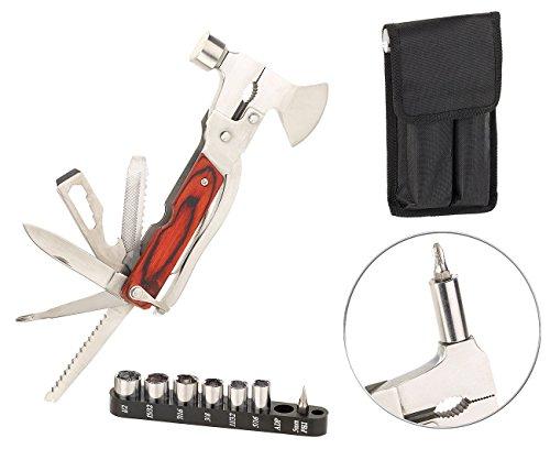 Semptec Urban Survival Technology Multifunktionsmesser: 26in1-Multitool aus Edelstahl mit Holzgriff und Schraubendreher-Set (Tools)