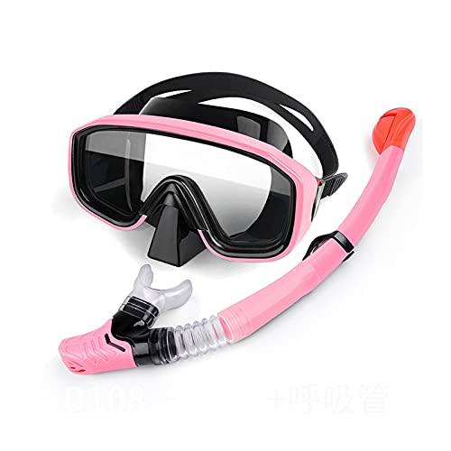 WDZJM Marco de máscara de Buceo Vista panorámica de Silicona Conjunto de Snorkel de Secado Completo a Prueba de Agua y Anti-Niebla Gafas de Buceo (Color : B)