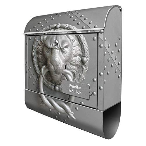 Banjado Design Briefkasten personalisiert mit Motiv Eisentor | Stahl pulverbeschichtet mit Zeitungsrolle | Größe 39x47x14cm, 2 Schlüssel, A4 Einwurf, inkl. Montagematerial