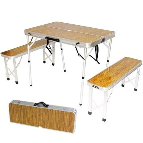 【 アウトドア テーブル 】 折りたたみ アルミテーブル ベンチセット 木目調 (2つ折り 幅 90cm) 2段階調節 簡単組立 キャンプ BBQ 軽量 コンパクト 防水 収納 持ち運び