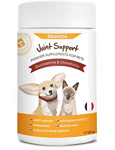 Dhohoo Glucosamine for Dogs, Dog Joint Care Supplements for Joint & Hip Support - Powder Formula for Easier Absorption, Cat & Dog Glucosamine for Improved Mobility & Strong Bones