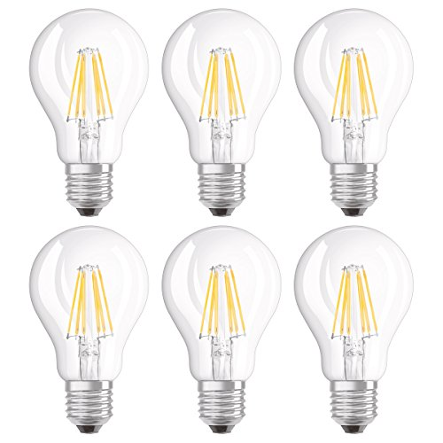 Osram LED SuperStar Classic A Lampe, in Kolbenform mit E27-Sockel, dimmbar, Ersetzt 60 Watt, Filamentstil Klar, Warmweiß - 2700 Kelvin, 6er-Pack