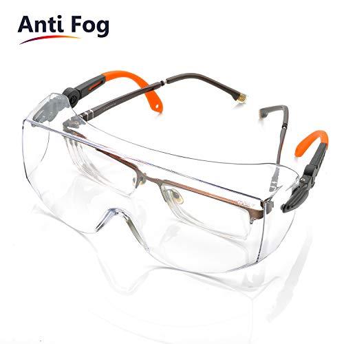 Gafas de Protección Antivaho Patillas Ajustables - Anteojos Gafas Protectoras Laboratorios con Cinta Ajustables SG009