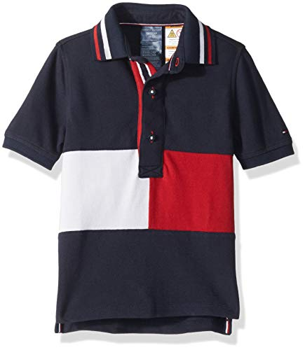 Tommy Hilfiger Boys' Adaptive Polo Shirt with Magnetic Buttons, Navy blazer S