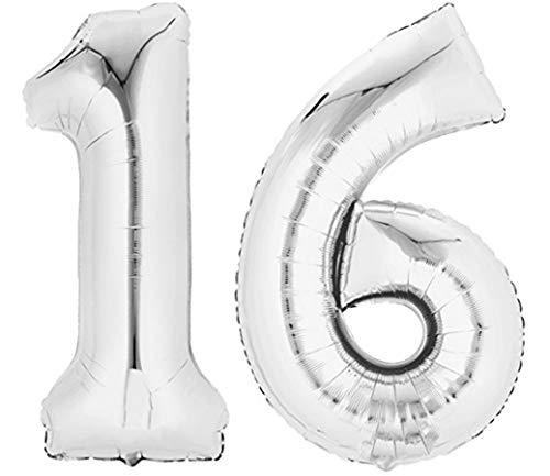 TopTen Folienballon Zahl 16 Silber XXL über 90 cm hoch - Zahlenballon / Luftballon für Geburstagsparty, Jubiläum oder sonstige feierliche Anlässe (Nummer 16)