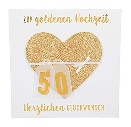 Depesche 8211.048 - Glückwunschkarte Glamour mit Verzierung und Glitzer, goldene Hochzeit