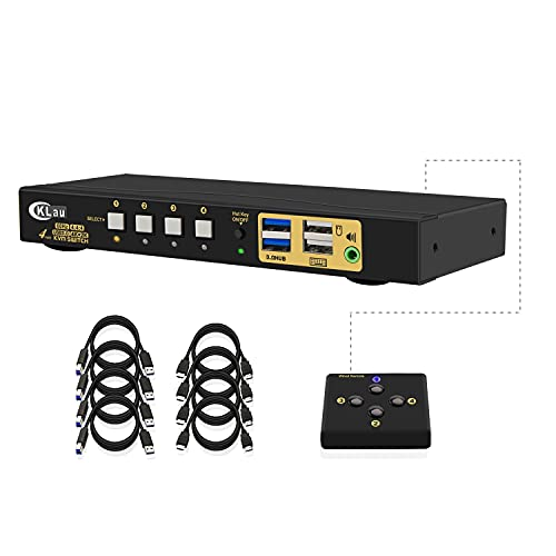 HDMI KVM Switch 4 Port, 4 Port HDMI 2.0 USB 3.0 KVM Switch with Cables, 2 pcs USB 3.0 Hub and Audio Output Supports Wireless/Mechanical/Gaming Keyboard Mouse