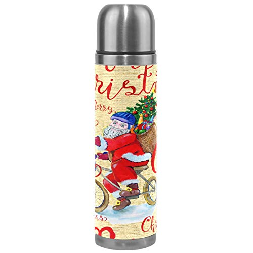 Christmas Thermos Vacuum Insulated Bottle,Vintage Santa Claus Bicycle Doodle Stainless Steel Water Bottle,BPA Free Coffee Travel Mug Cup Genuine Leather Cover 17 Oz Best Christmas Gifts