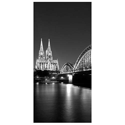 Flächenvorhang Köln bei Nacht II 250x120cm - Hängende Raumteiler Raumteiler Raumteiler Vorhang Raumteiler Vorhang Raumteiler Paneelrollo Wandbild Deko - Maße: 250x120cm Inkl. Kleiderbügel transparent