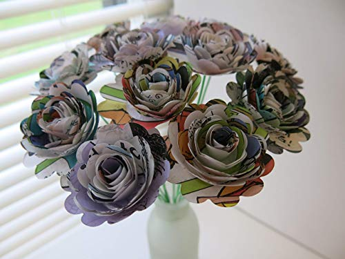 Scalloped Comic Book Paper Flowers Bunch 1 Dozen 1.5 Inch Roses on Stems Superhero Birthday Party Decor Centerpiece