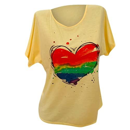 Camiseta de mujer con estampado de flores de corazón y manga corta