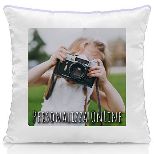 Cuscino Personalizzato con Foto - Quadrato 40 x 40 cm - Idea Regalo - Glicine, A. con Imbottitura