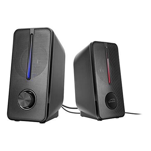 Speedlink BADOUR Stereo Speaker - PC Lautsprecher - dezent schwarzes Design - kraftvolle LED-Beleuchtung - Metallschutzgitter, schwarz