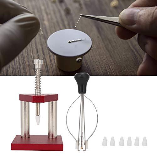 Prensatelas de aluminio para relojes de diseño razonable y preciso con extractor de mano de reloj de plástico, para relojeros y trabajadores de reparación de relojes