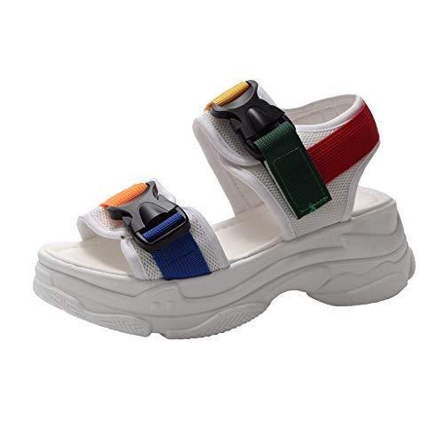 Women Platform Sports Sandals Ladies Retro 90s Ugly Dad Chunky Athleisure Casual Sandal Memela (White, 6.5 M US)