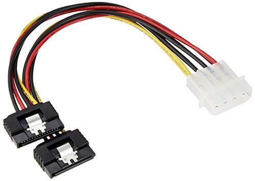 変換名人 ペリフェラル(大4ピン) → SATA電源(15ピン・ロック付)×2分岐ケーブル 4P-SPR/2