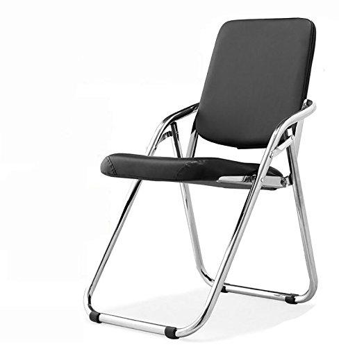 TYz Klappstuhl Klappstuhl Klapp-Trainingsstuhl Sitzungssaal Stuhl Tutoring Trainingsstuhl Performance Hall Sitz Stahlrohr Stuhl schwarz Leder Stuhl (Farbe : 1#)