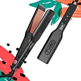 TYMO Flat Iron for Hair - 1.75' Titanium Hair Straightener with Professional 3D Floating Plate, Advanced Touch Panel,16 Heat Settings, Straightening and Curling Iron