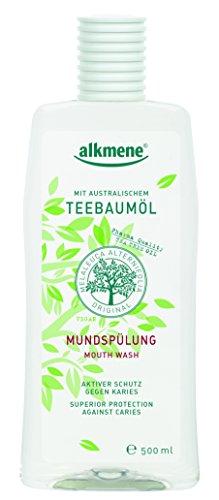 alkmene Teebaumöl Mundspülung mit 6-fach Schutz - Schützt vor Karies, Zuckersäuren, Zahnstein - Mundwasser ohne Alkohol, Silikone, Parabene & Mineralöl - Zahnspülung (1x 500 ml)