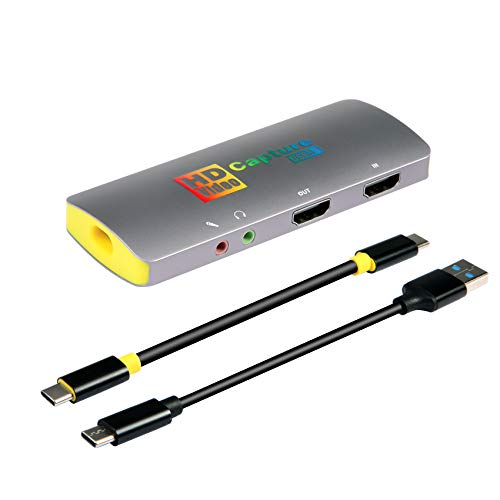 Mirabox 4K 60FPS Game Capture Card,USB3.1 Type C HDMI Capture Card,1080P 60FPS HD Audio Video Capture Device for PS4 Switch OBS YouTube Streaming and Recording,Compatible with Windows Mac OS Linux