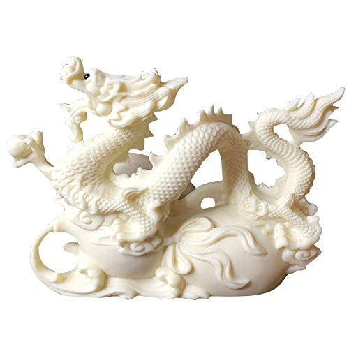 DFJU Estátuas e estatuetas de dragão de Feng Shui, Escultura Decoração de escritório em casa Decoração de Mesa Enfeites para Riqueza e sucesso Presentes da Boa sorte, Frutas de marfim