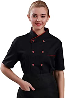 Sentao Men Women Chef Coat,Chef Jacket, Stand-up Collar, Chest Pocket, White & Black Available, Sizes M to 4XL