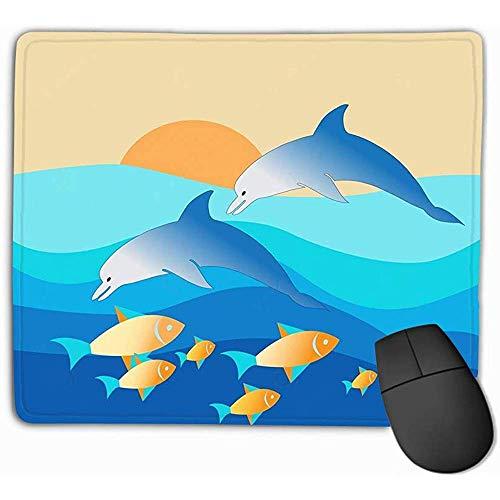 Gaming Muis Pad Oblong Vormige Muis Mat 30X25CM Dolfijnen Genieten van hun Heerlijke Vang Zonsondergang Illustrator Tonen vangen Voedsel Natuur Liefhebber s Paradise Perfect Gevarieerd