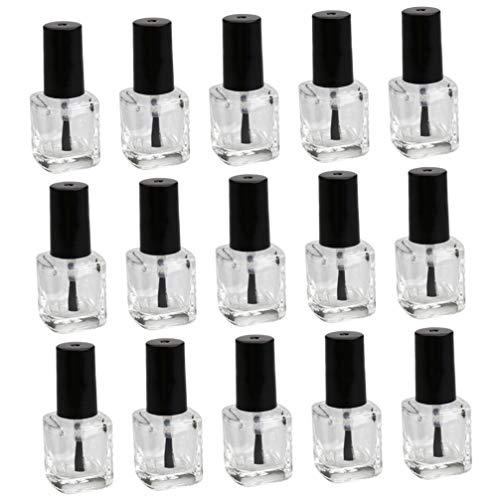 OSALADI 15 Unidades de Botellas de Esmalte de Uñas Botellas Vacías de Esmalte de Uñas con Tapa de Cepillo Botellas de Vidrio Transparente Contenedor para Esmalte de Uñas 5ML